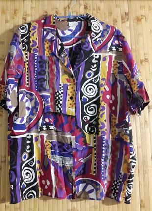 Натуральная рубашка вискоза оверсайз короткий рукав блуза германия