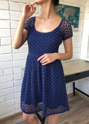 Темно-синее кружевное летнее нарядное мини платье колокольчик zara s с