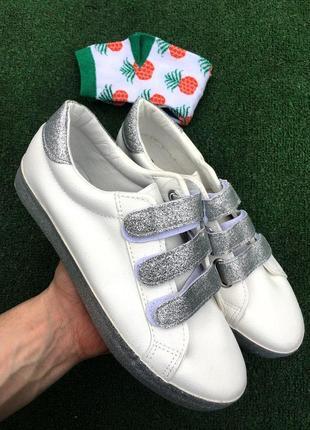 Кроссовки - женские на липучках (белые) со стразами серые кеды2 фото