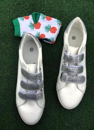 Кроссовки - женские на липучках (белые) со стразами серые кеды3 фото