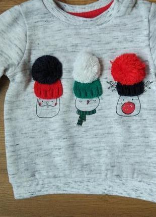 Новый трикотажный свитшот кофта свитер f&f на 6-9 месяцев