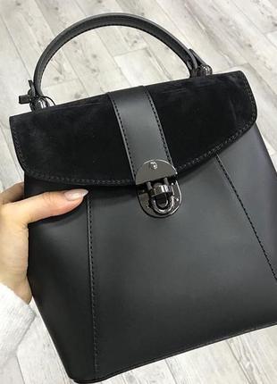 Сумка кожаная рюкзак кожаный 2в1 чёрный италия натуральная кожа новая чёрный чёрная