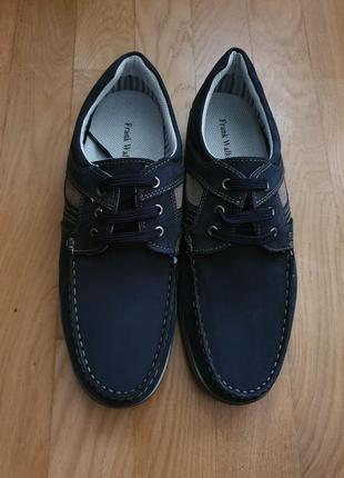 Супер зручнi туфлi-мокасини frank walker із натурального нубуку2 фото