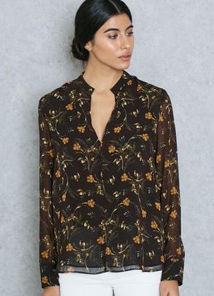 Блуза коричневая в желтый цветочный принт mango размер m