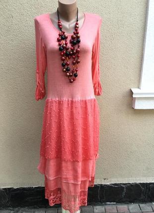 Розовое,комбинированное,многослойное платье,сетка,кружево,гипюр,этно,бохо стиль