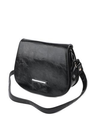 Маленькая черная сумочка через плечо овальная кроссбоди с клапаном
