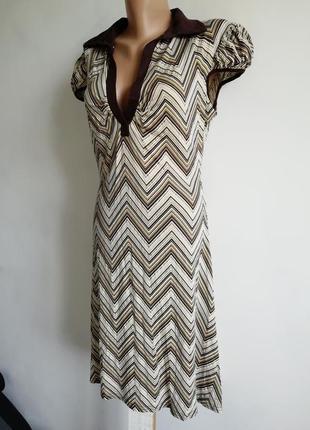 🌴платье халат в зигзаги с рукавом фонариком 🌴 платье миди оливкового цвета