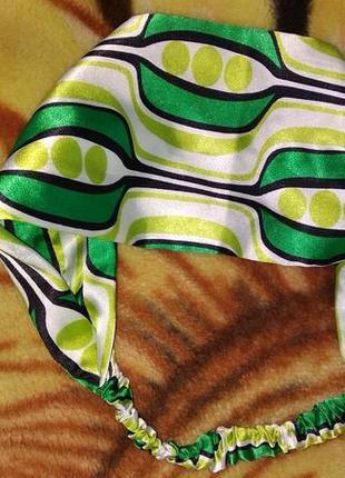 Лента для волос зеленая с абстракцией