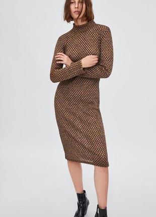 Платье с металлизированной нитью zara