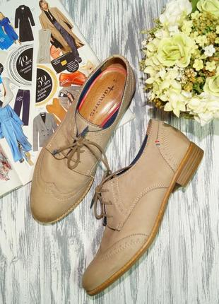 Tamaris. кожа. стильные туфли на шнуровке, оксфорды с memory стельками