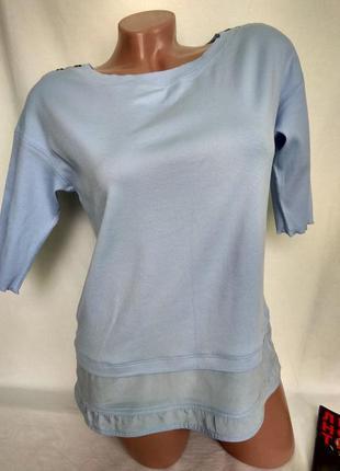 Спортивный светло-голубой топ футболка, рукав 1/2 р. m/l - нюанс, от marc cain sports1 фото