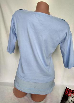Спортивный светло-голубой топ футболка, рукав 1/2 р. m/l - нюанс, от marc cain sports3 фото
