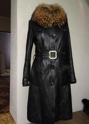 Пальто кожаное, подкладка кролик