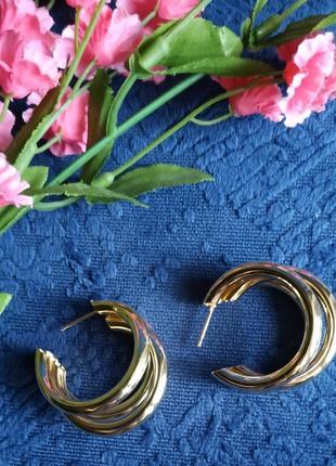 Серьги в стиле zara зара сережки золото винтаж2 фото