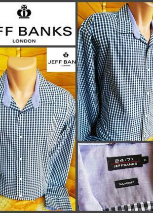 Классическая рубашка в мелкую клетку jeffbanks, оригинал, р. xl, пр-во комбоджа