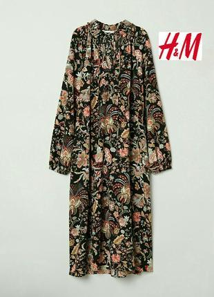 Платье, из креповой ткани, в яркий принт. h&m.