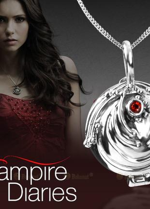 Винтажный кулон цепочка подвеска украшение под серебро с красным камнем дневники вампира