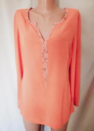 Распродажа!   оранжевая шифоновая блуза, кофточка с вышивкой бисером  №5bp