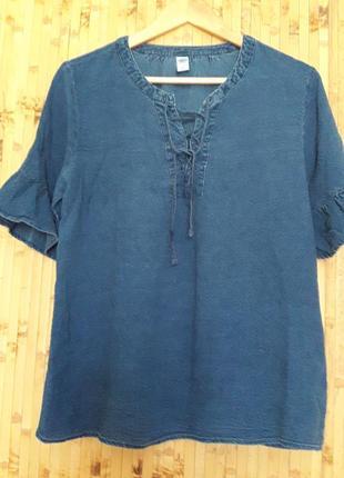 Джинсовая натуральная  лиоцел блуза рубашка на шнуровке