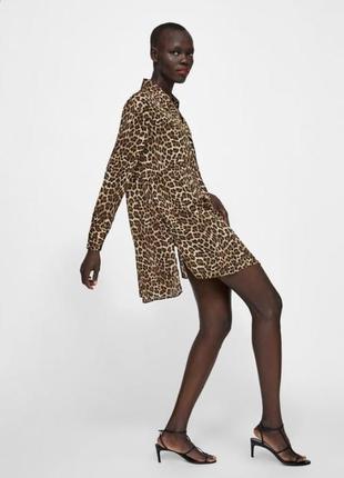 Блуза оверсайз леопардовый принт от zara