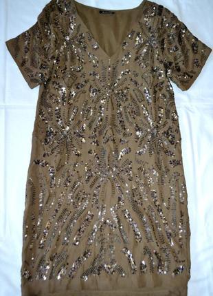 Шелковое платье massimo dutti вышивка паетками - стиль balmain хс-с