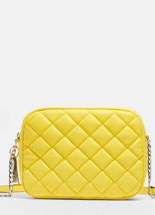 Новая жёлтая сумка кросс боди с ключиком