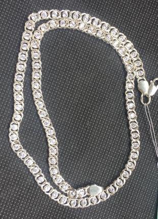 Новая серебряная цепочка с куб.цирконием 45 см серебро 925 пробы