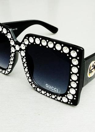 Gucci очки женские солнцезащитные большие черные квадратные в камнях
