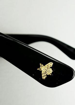 Gucci очки женские солнцезащитные большие черные квадратные в камнях5 фото