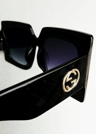 Gucci очки женские солнцезащитные большие черные квадратные в камнях8 фото