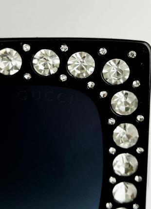 Gucci очки женские солнцезащитные большие черные квадратные в камнях9 фото
