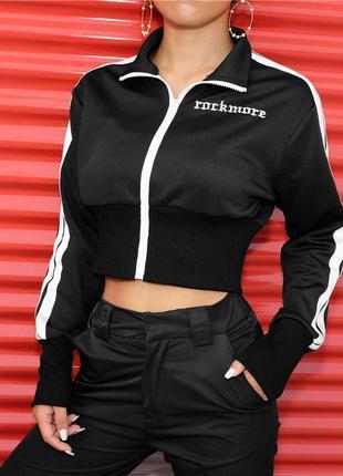 Куртка олимпийка кроп укороченная спортивная винтаж тренд 2019