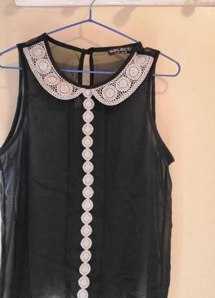 Шифоновая блуза с кружевной отделкой