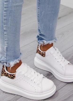 Кроссовки/кеды белые с леопардовым принтом