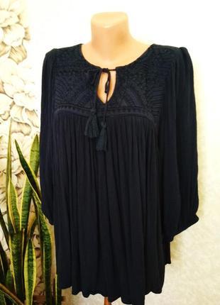 Блуза с вышивкой, вискоза, большой размер.