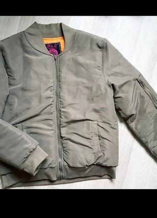 Бомбер дутый хаки куртка фирменный зеленый miss 21
