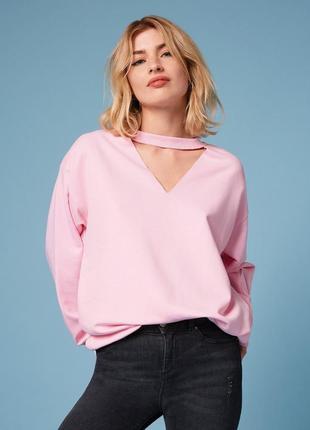 Нежный розовый свитшот, толстовка, худи, кофта с чокером оверсайз miss selfridge, p.s(36)