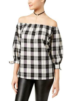 Топ, блузка в клетку b&w с открытыми плечами и рукавами 3/4 на завязках, s