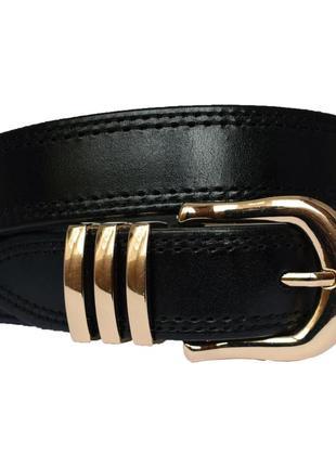 Crown30 женский кожаный ремень черный со строчкой кожанный пояс