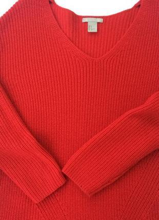 Свитер h&m красный v-образый вырез