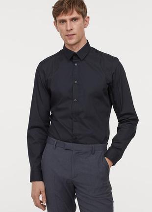 Новая мужская черная деловая рубашка h&m easy-iron slim fit р.l на наш 50 приталенная