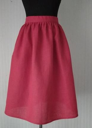 Льняная красная юбочка в сборку, с карманами, размеры и цвета