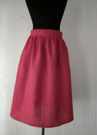 Льняная красная юбочка в сборку, с карманами, размеры и цвета3 фото