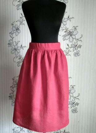 Льняная красная юбочка в сборку, с карманами, размеры и цвета4 фото