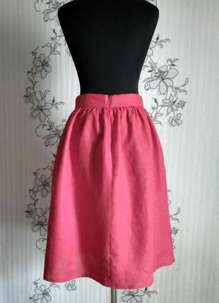 Льняная красная юбочка в сборку, с карманами, размеры и цвета5 фото
