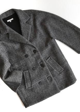 Шерстяное пальто sandro paris oversize в клетку