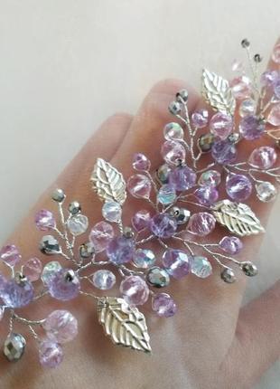 Свадебное украшение в прическу украшение в волосы веточка