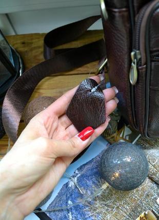 Сумка мужская кожаная коричневая3 фото