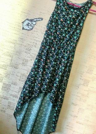 9b719ab3d00 Платье лето длинное сзади короткое спереди открытая спина цветочный принт  zara
