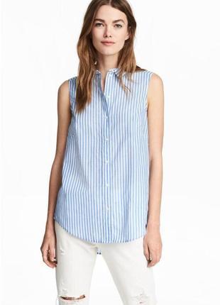 Рубашка блуза в полоску без рукавов zara